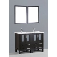 "48"" AB224U Double Vanity w/ White Ceramic Top-Espresso"