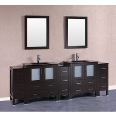 "96"" AB230BGU3S Double Vanity w/ Tempered Glass Top-Espresso"