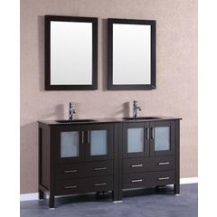 "60"" AB230BGU Double Vanity w/ Tempered Glass Top-Espresso"