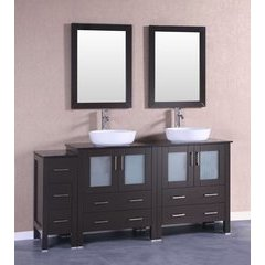 "72"" AB230BWLBG1S Double Vanity w/ Tempered Glass Top-Espress"