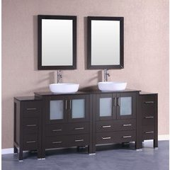 "84"" AB230BWLBG2S Double Vanity w/ Tempered Glass Top-Espress"