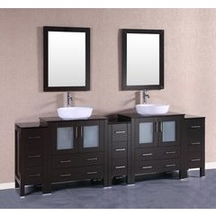 "96"" AB230BWLBG3S Double Vanity w/ Tempered Glass Top-Espress"