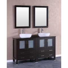 "60"" AB230BWLBG Double Vanity w/ Tempered Glass Top-Espresso"