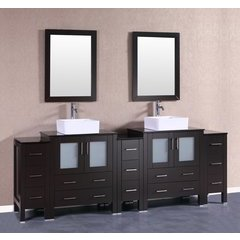 "96"" AB230CBEBG3S Double Vanity w/ Tempered Glass Top-Espress"