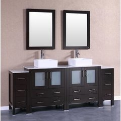 "84"" AB230CBECM2S Double Vanity w/ White Carrara Top-Espresso"