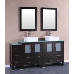 "72"" AB230CBECWG1S Double Vanity w/ Tempered Glass Top-Espres"
