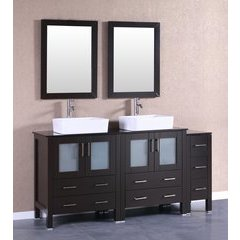 "72"" AB230RCBG1S Double Vanity w/ Tempered Glass Top-Espresso"