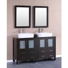 "60"" AB230RCBG Double Vanity w/ Tempered Glass Top-Espresso"