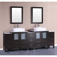 "96"" AB230RCCM3S Double Vanity w/ White Carrara Top-Espresso"