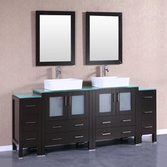 "84"" AB230RCCWG2S Double Vanity w/ Tempered Glass Top-Espress"