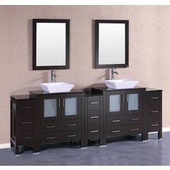 "96"" AB230SQBG3S Double Vanity w/ Tempered Glass Top-Espresso"