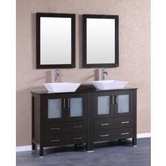 "60"" AB230SQBG Double Vanity w/ Tempered Glass Top-Espresso"