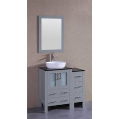 """36"""" AGR124 Single Vanity w/ Tempered Glass Top-Gray"""