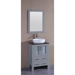 "24"" AGR124 Single Vanity w/ Tempered Glass Top-Gray"