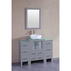 """48"""" AGR124 Single Vanity w/ Tempered Glass Top-Gray"""
