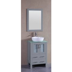"""24"""" AGR124 Single Vanity w/ Tempered Glass Top-Gray"""