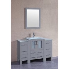 "48"" AGR124 Single Vanity w/ Tempered Glass Top-Gray"