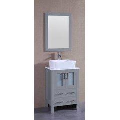"24"" AGR124 Single Vanity w/ Pheonix Stone Top-Gray"