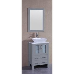 "24"" AGR124 Single Vanity w/ Carrara White Top-Gray"