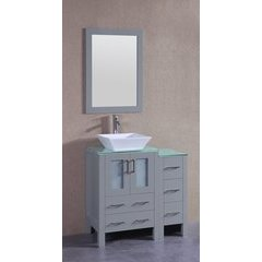 "36"" AGR124 Single Vanity w/ Tempered Glass Top-Gray"