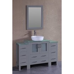 """54"""" AW130 Single Vanity w/ Tempered Glass Top-Gray"""