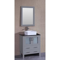 "30"" AW130 Single Vanity w/ Tempered Glass Top-Gray"