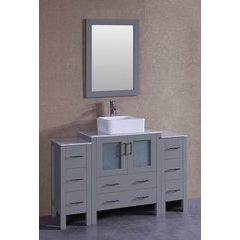 "54"" AW130 Single Vanity w/ Carrara White Top-Gray"