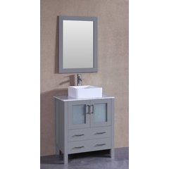 "30"" AW130 Single Vanity w/ Carrara White Top-Gray"