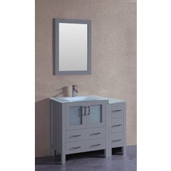 "42"" AW130 Single Vanity w/ Tempered Glass Top-Gray"