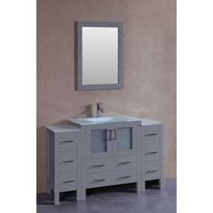 "54"" AW130 Single Vanity w/ Tempered Glass Top-Gray"