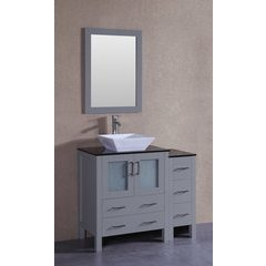 """42"""" AW130 Single Vanity w/ Tempered Glass Top-Gray"""
