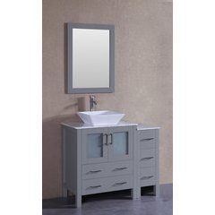 "42"" AW130 Single Vanity w/ Carrara White Top-Gray"