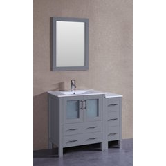 "42"" AW130 Single Vanity w/ White Ceramic Top-Gray"