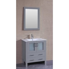 "30"" AW130 Single Vanity w/ White Ceramic Top-Gray"