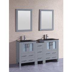 "60"" AGR224BGU1S Double Vanity w/ Tempered Glass Top-Gray"
