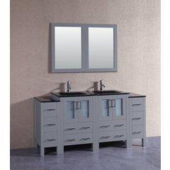 "72"" AGR224BGU2S Double Vanity w/ Tempered Glass Top-Gray"