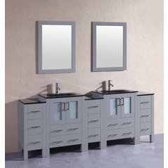 "84"" AGR224BGU3S Double Vanity w/ Tempered Glass Top-Gray"