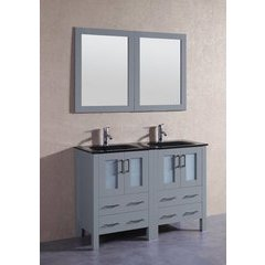 "48"" AGR224BGU Double Vanity w/ Tempered Glass Top-Gray"