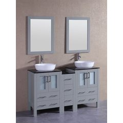 """60"""" AGR224BWLBG1S Double Vanity w/ Tempered Glass Top-Gray"""