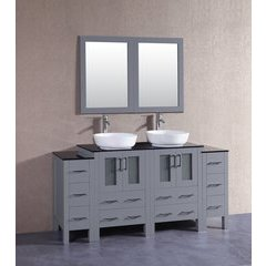 """72"""" AGR224BWLBG2S Double Vanity w/ Tempered Glass Top-Gray"""