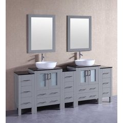 """84"""" AGR224BWLBG3S Double Vanity w/ Tempered Glass Top-Gray"""