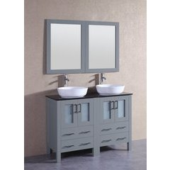 """48"""" AGR224BWLBG Double Vanity w/ Tempered Glass Top-Gray"""