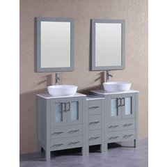 "60"" AGR224BWLCM1S Double Vanity w/ White Carrara Top-Gray"
