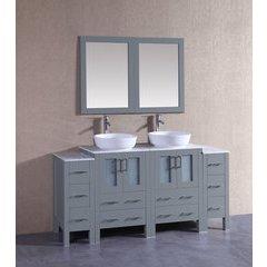 "72"" AGR224BWLCM2S Double Vanity w/ White Carrara Top-Gray"
