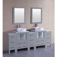 "84"" AGR224BWLCM3S Double Vanity w/ White Carrara Top-Gray"