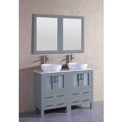 "48"" AGR224BWLCM Double Vanity w/ White Carrara Top-Gray"