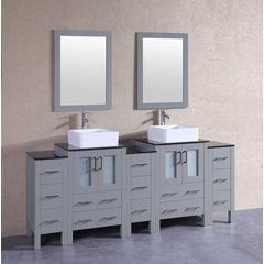 "84"" AGR224CBEBG3S Double Vanity w/ Tempered Glass Top-Gray"