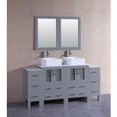 "72"" AGR224CBECM2S Double Vanity w/ White Carrara Top-Gray"