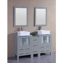 "60"" AGR224CBECWG1S Double Vanity w/ Tempered Glass Top-Gray"