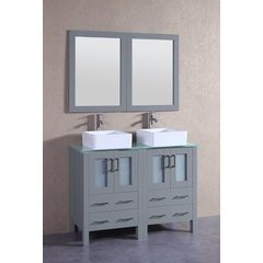 """48"""" AGR224CBECWG Double Vanity w/ Tempered Glass Top-Gray"""